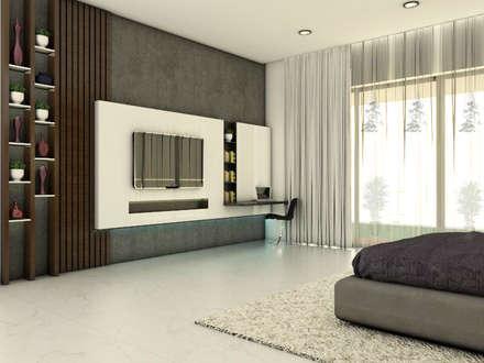 sons bedroom tv unit: modern Bedroom by URBAIN DEZIN STUDIO