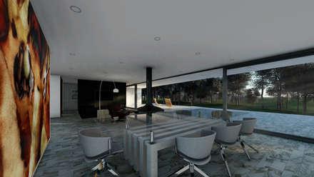 Moradia Herdade da Aroeira: Salas de estar minimalistas por ARQE