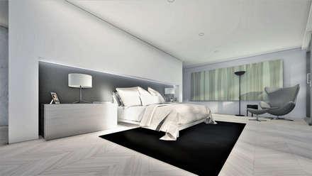 Moradia Herdade da Aroeira: Quartos minimalistas por ARQE
