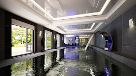 Indoor Dark Pool: Modern Pool By The Design Practice By UBER