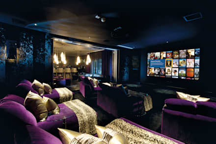 Club-themed residential cinema room to bar: modern Media room by The Design Practice by UBER