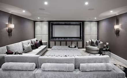 Lower floor cinema and bar area: modern Media room by The Design Practice by UBER