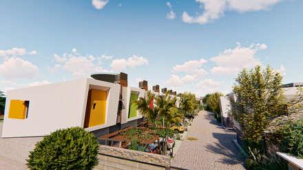 Vista aerea ingreso - 2: Condominios de estilo  por Módulo 3 arquitectura