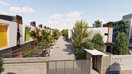 Vista aerea ingreso - 4: Condominios de estilo  por Módulo 3 arquitectura