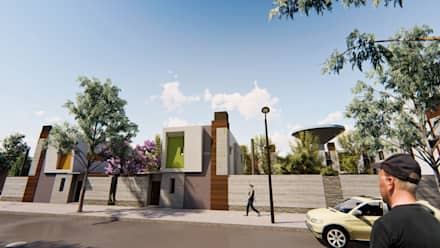 Viviendas con salida a la calle - Fachada lateral - 2: Condominios de estilo  por Módulo 3 arquitectura