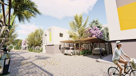 Vista peatonal del condominio - 4: Condominios de estilo  por Módulo 3 arquitectura