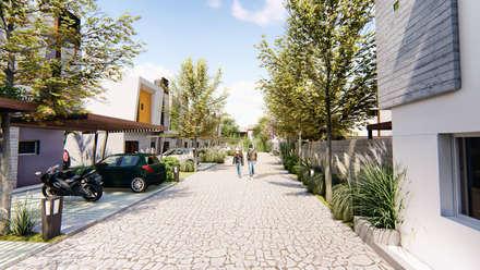 Vista peatonal del condominio - 5: Condominios de estilo  por Módulo 3 arquitectura