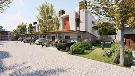 Vista peatonal del area verde del condominio: Condominios de estilo  por Módulo 3 arquitectura