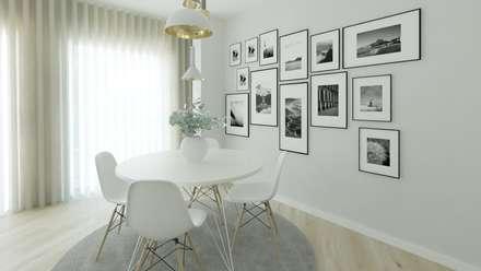 Projeto 3D Sala Estilo Escandinavo: Salas de jantar escandinavas por Ana Andrade - Design de Interiores