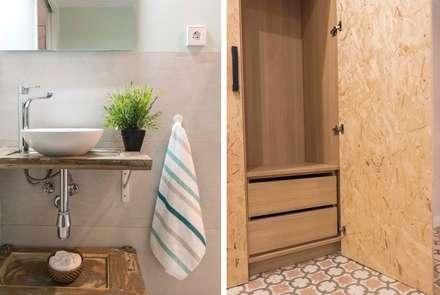 Un piso rumbero en el Raval: Baños de estilo rústico de Silvia R. Mallafré