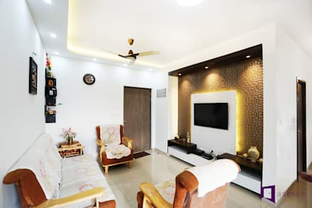 Ajay & Yogita's apartment in Sobha dream Acres,Varthur,Bangalore: minimalistic Living room by Asense