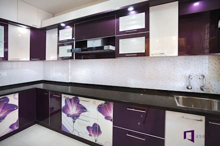 Parul & Gourav's apartment in Sumadhura Shikharam,Whitefield,Bangalore:  Kitchen units by Asense