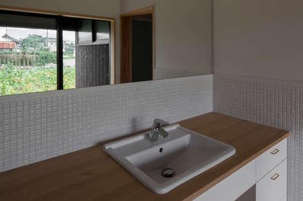 雲州平田の家: 中山建築設計事務所が手掛けた浴室です。