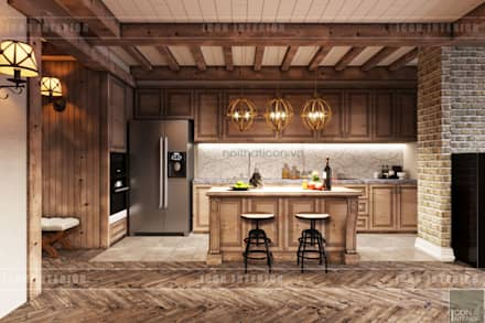 rustic Kitchen by ICON INTERIOR