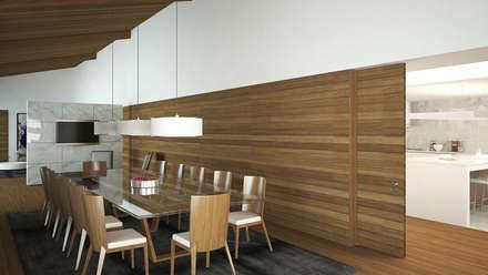 Moradia em fazenda - Tipologia T6: Salas de jantar campestres por EsboçoSigma, Lda