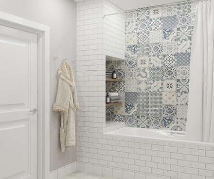 """Трехкомнатная квартира ЖК """"А101"""": Ванные комнаты в . Автор – OM DESIGN"""