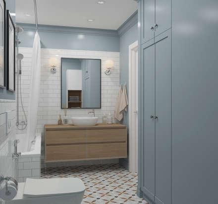 """ЖК """"Татьянин Парк"""", двухкомнатная квартира для молодой семьи: Ванные комнаты в . Автор – OM DESIGN"""