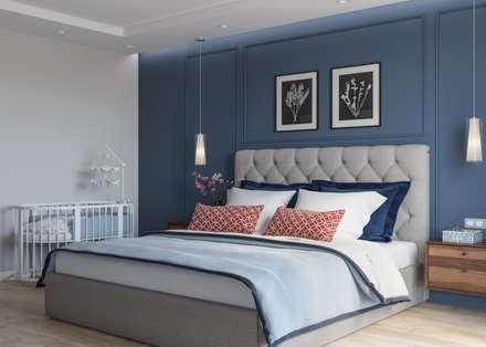 """ЖК """"Татьянин Парк"""", двухкомнатная квартира для молодой семьи: Спальни в . Автор – OM DESIGN"""