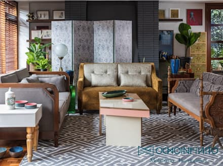 SALA 2  - OCHOINFINITO : Salas de estilo ecléctico por OCHOINFINITO Mobiliario - Interiorismo