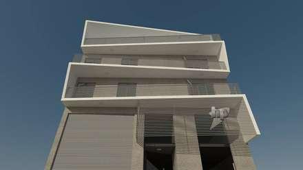 FACHADA DIURNA: Casas multifamiliares de estilo  por GS TALLER DE ARQUITECTURA