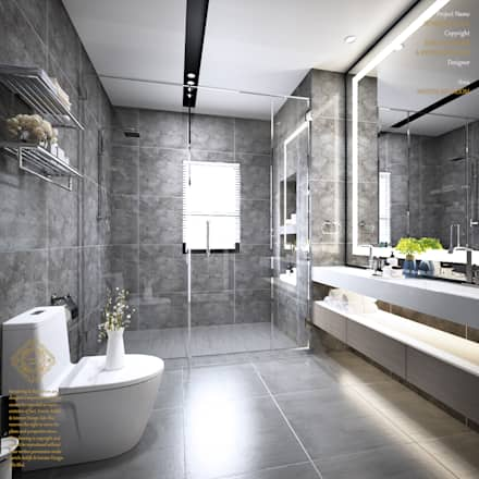 Semi detached houses design senibong villa johormalaysia modern bathroom by enrich