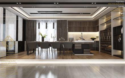 Sleek kitchen: modern Dining room by Enrich Artlife & Interior Design Sdn Bhd