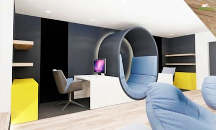 Bespoke workstation with backlit reading seat : modern Media room by Tigerplay at Home