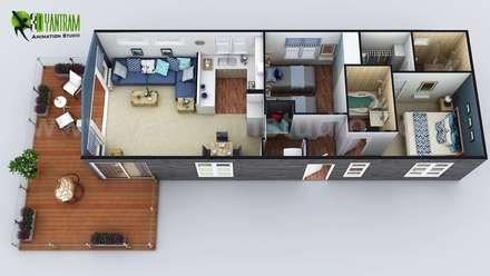 2D & 3D House Floorplans by Yantram architectural studio - Miami, USA:  Floors by Yantram Architectural Design Studio
