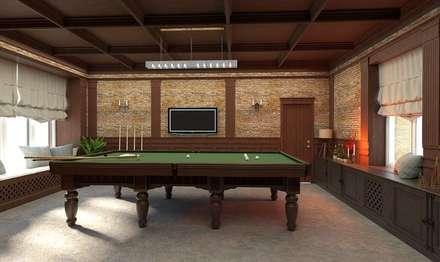 Salas de entretenimiento de estilo industrial por ELENA_KULIK_DESIGN