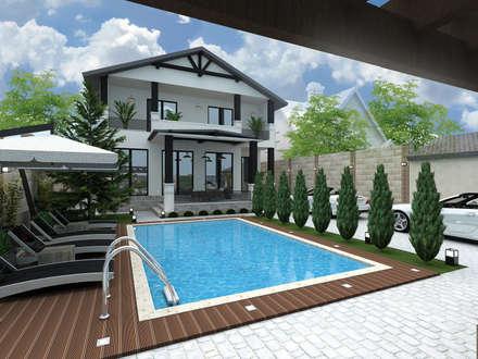 Ландшафтный дизайн дома в г. Одесса, Совиньон: Бассейн в . Автор – ELENA_KULIK_DESIGN