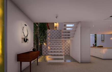 entry foyer:  Stairs by Fernandez Architecture