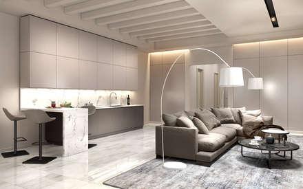 Интерьер современного таунхауса : Встроенные кухни в . Автор – Studio 25