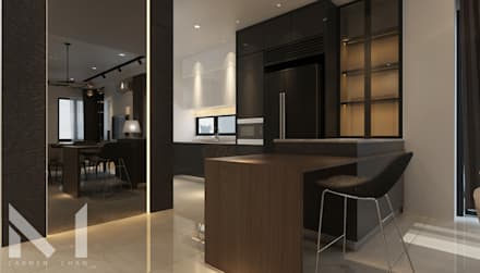 Dry Kitchen with breakfast counter : modern Kitchen by Muse Studio