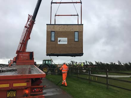 Positioning at site Gwel an Mor:  Prefabricated home by Building With Frames