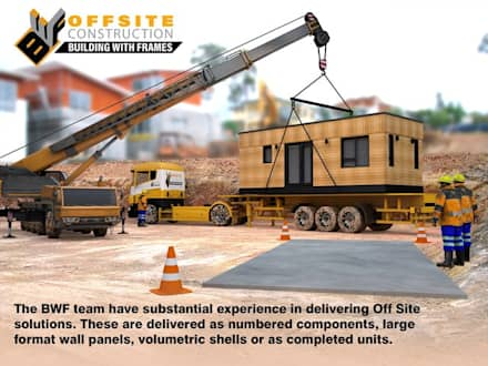 In transit, positioning at site:  Prefabricated home by Building With Frames