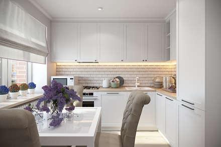 Квартира 51 кв. м. в стиле эклектика в Спб.: Кухни в . Автор – Студия архитектуры и дизайна Дарьи Ельниковой