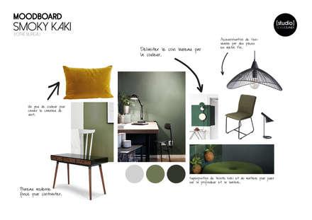 BUREAU SMOKY KAKI: Bureau de style de style Scandinave par STUDIO NOÉMIE BANIER