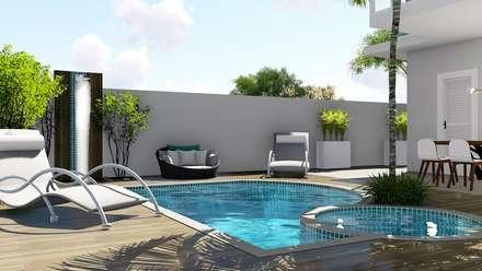Área de lazer : Piscinas de jardim  por Trivisio Consultoria e Projetos em 3D