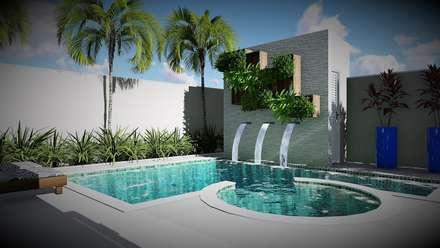 Jardim com piscina: Terraços  por Trivisio Consultoria e Projetos em 3D