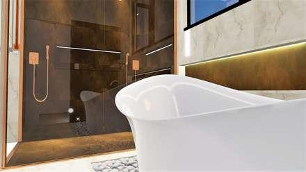 Suite casal: Casas de banho ecléticas por Trivisio Consultoria e Projetos em 3D