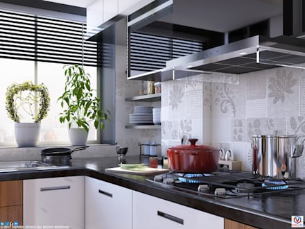 KITCHEN:  Built-in kitchens by VIZPIXEL STUDIO