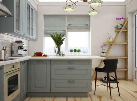 Дизайн проект двухкомнатной квартиры в скандинавском стиле: Встроенные кухни в . Автор – Искусство Интерьера