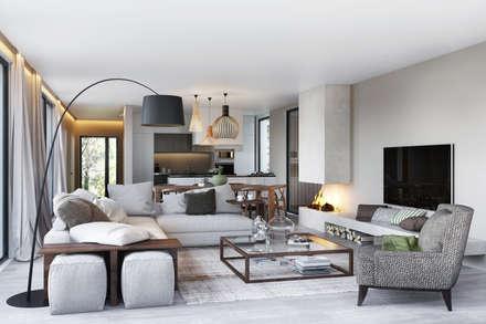 Bloom Marinha: Salas de estar ecléticas por DZINE & CO, Arquitectura e Design de Interiores