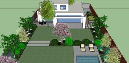 Proyecto 3D Patio posterior: Jardines de estilo moderno por Aliwen Paisajismo
