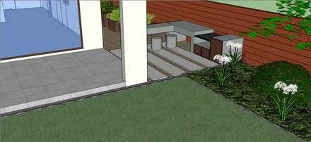 Detalle quincho diseñado en 3D: Jardines de estilo moderno por Aliwen Paisajismo