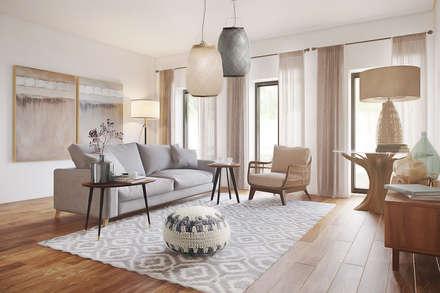 Model home - Lisbon: Salas de estar ecléticas por DZINE & CO, Arquitectura e Design de Interiores