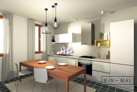 Relooking Zona giorno M&M - Renderign angolo cottura: Cucina attrezzata in stile  di MINIMAL di Casini Roberta