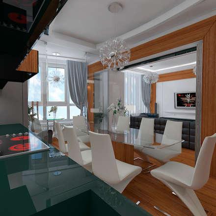 Дизайн-проект квартиры в стиле шикарной яхты 95 кв.м., кухня, открытая перегородка: Кухни в . Автор – STUDIO DESIGN КРАСНЫЙ НОСОРОГ