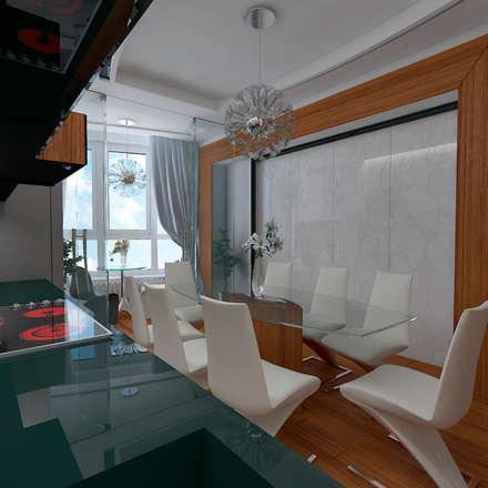Дизайн-проект квартиры в стиле шикарной яхты 95 кв.м., кухня, закрытая перегородка: Кухни в . Автор – STUDIO DESIGN КРАСНЫЙ НОСОРОГ