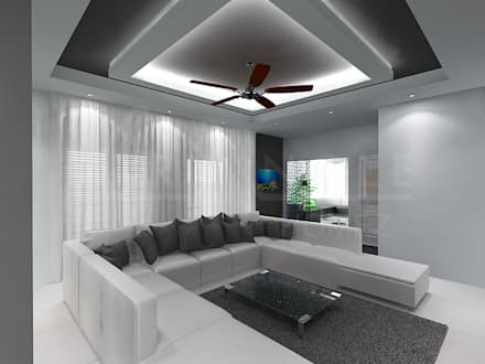 An all White Interiors: minimalistic Living room by TRIANGLE HOMEZ